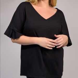 Black Boho Ruffle Sleeve V-Neck Tee Shirt